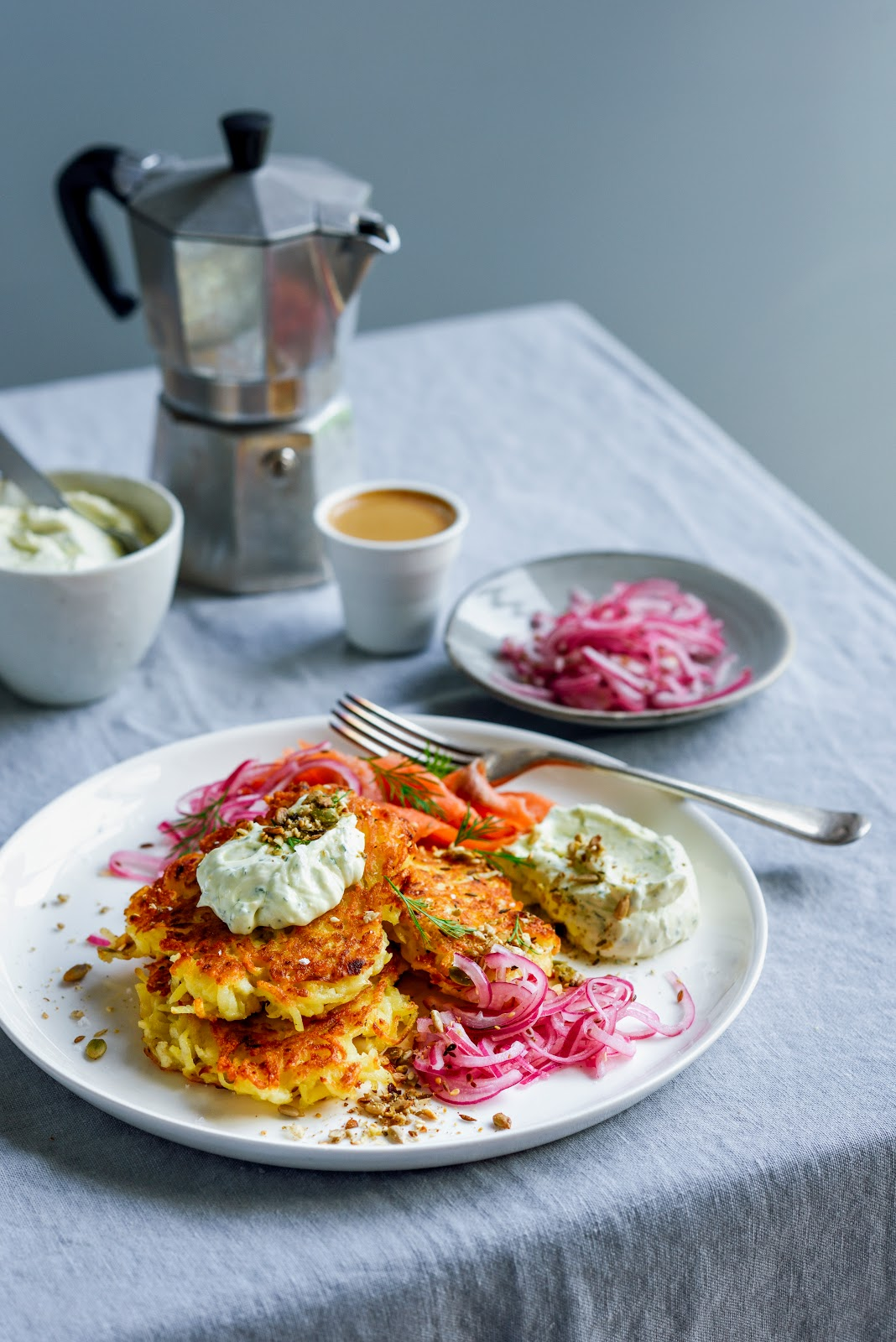 Potato latkes with smoked salmon feta cream cheese whip quick lil re post of this recipe from october last year my apologies but i have been so flat out with the book and work that things have been a bit quiet on forumfinder Gallery